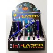 X-3143  LED фонарик брелок + лазер